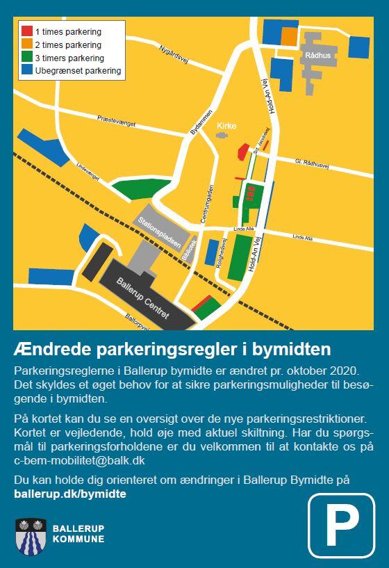 Kortet viser P-muligheder ved Ballerup Bibliotek