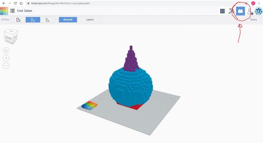 Skærmbillede fra 3D-programmer Tinkercad med en figur af LEGO-klodser