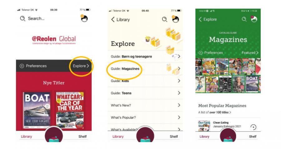 I appen Libby trykker du på Explore og vælge Guide: Magazines. Det leder dig ind til magasinsamlingen.