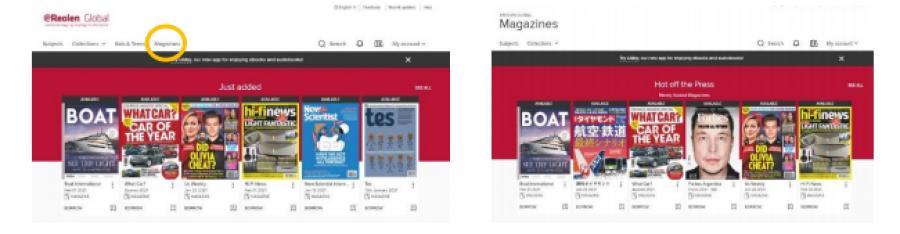 På eReolenGlobal.dk finder du menupunktet Magazines i toppen af siden. Det leder dig ind til magasinsamlingen.