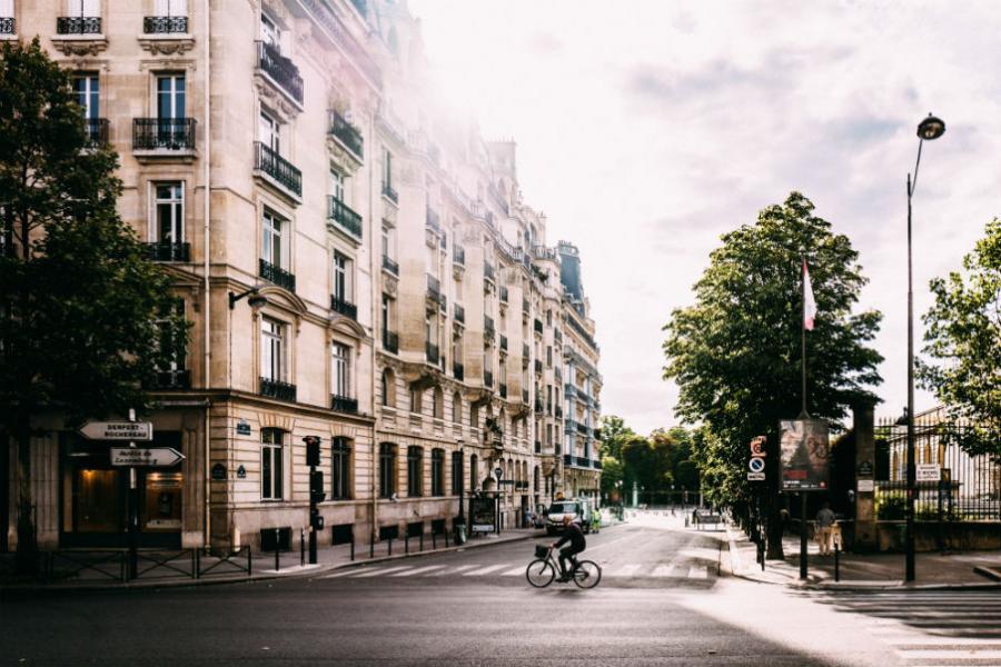 Bystemning, paris, mand cykler