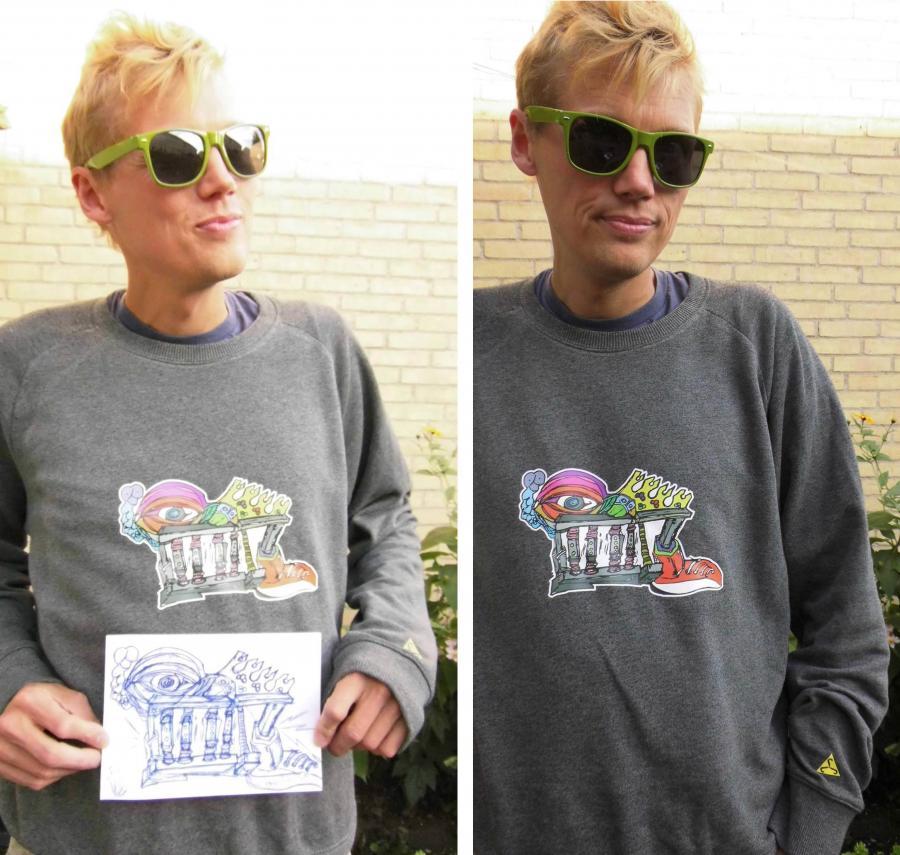 Et to-delt billede, hvor en bruger af Makerspace viser en tegning, som også er på hans trøje. Brugeren har solbriller på og står udenfor,