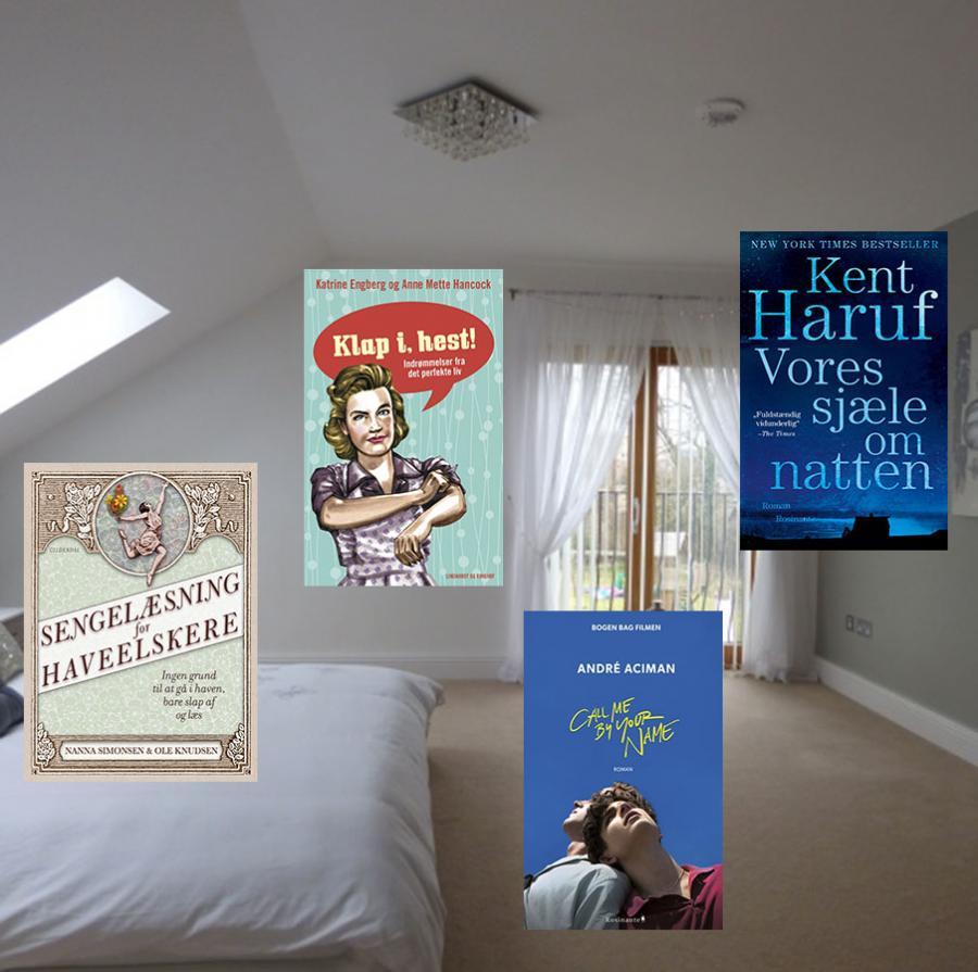 soveværelse med bogforsider i forgrunden