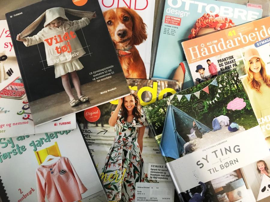 Billede af udvalgte sybøger og -blade, som kan lånes på Ballerup Bibliotekerne