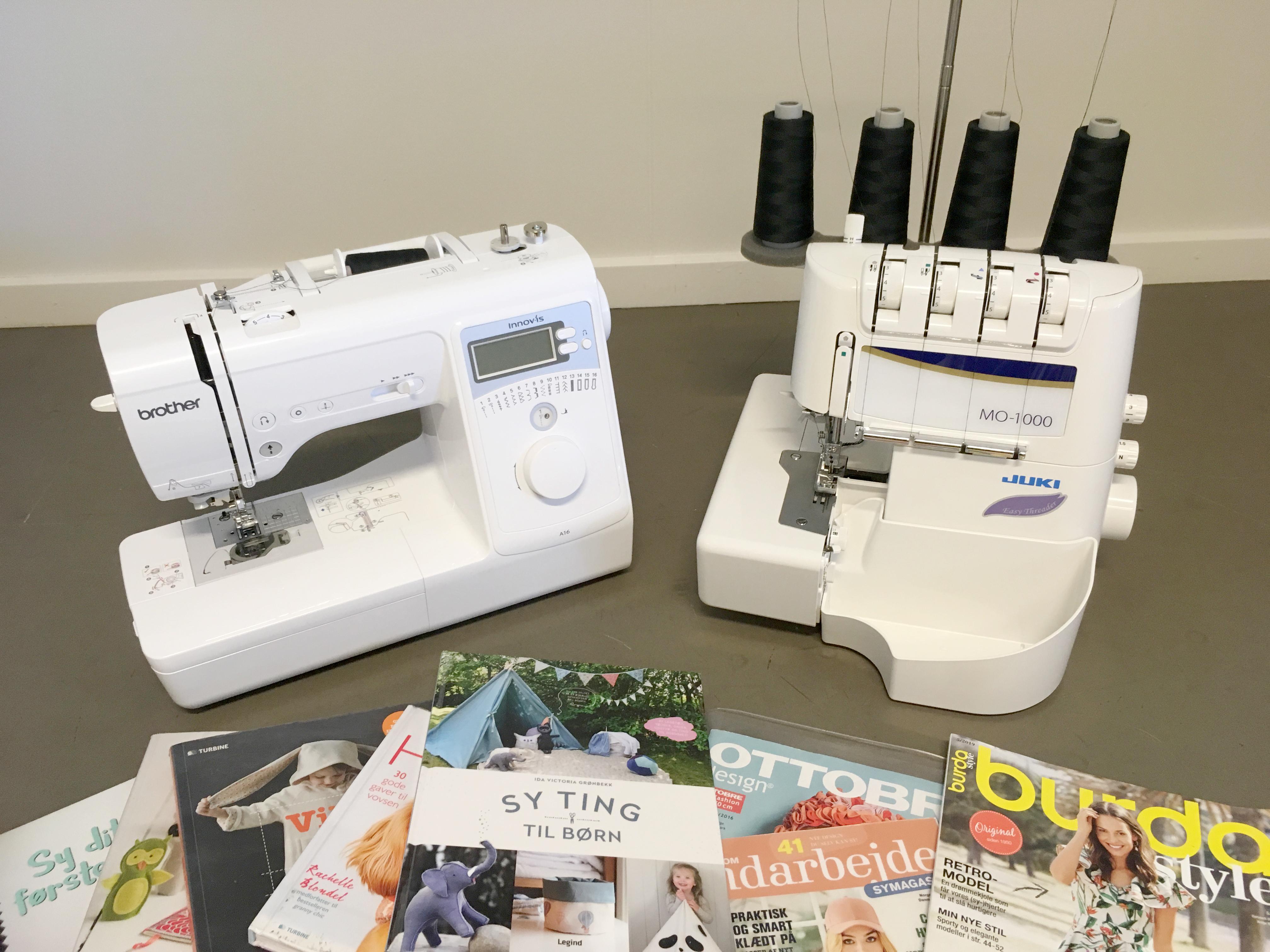 Billede af symaskine og overlocker, som kan lånes på Ballerup Bibliotek